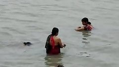 Bathing  in River nice Desi