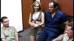Lovely young blonde slut in bikini sucks a lucky older guy's dick on cam