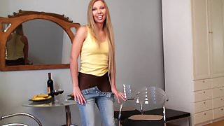 Teen Removes Her Jeans And Reveals Black Pantyhose