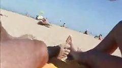 Handjob on beach with comeshot