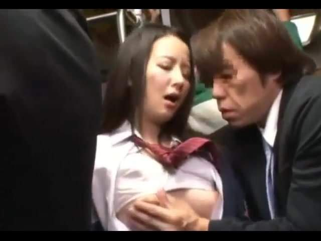 Cute Japanese Schoolgirl on Train