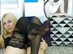 blond in black stocking lick her nylon feet