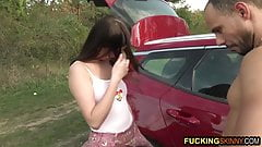 Teen girl is lost in the forest and gets fucked in the trunk