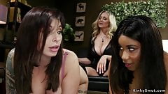 Huge tits milf lesbian dom whips babes.