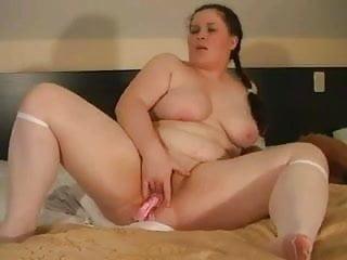 Horny Fat BBW GF fingering her Wet Shaven Pussy