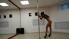 perfect pole dance in training