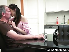 Skinny petite Vera seduces senior Steve Steel