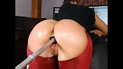 Big booty girl takes big dildo machine from behind