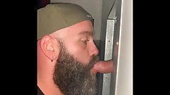 Bearded Guy Sucking Cock at the Gloryhole