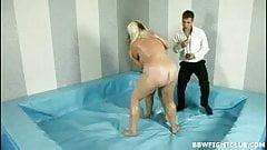 Exciting BBW wrestling with two fat oiled girls