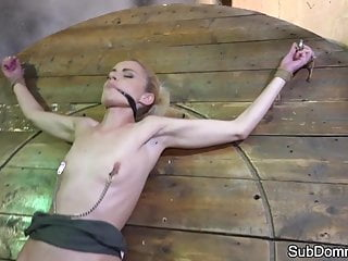 Gagged sub shaking after orgasm while bound