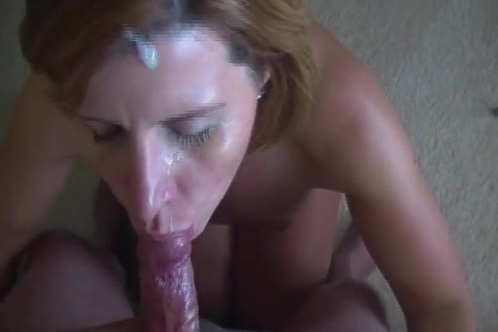 Slutty cheating neighbour milf gives deepthroat blowjob