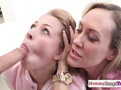 Stepmom Brandi Love licking ass during ffm