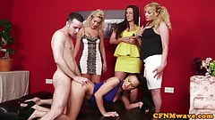 European voyeur babe pussyfucked during cfnm