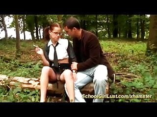 schoolgirls gets anal fucked in the forest