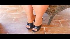 High Heels - unsere Sie Outdoor auf dem Balkon