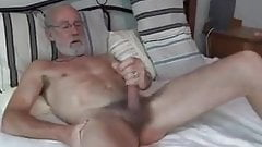 Silver daddy playing with his cock