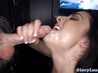 Bigtitted gloryhole babe cocksucks and tugs