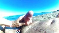 Granny masturbating stranger on the beach.