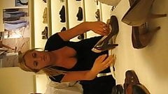Nice Downblouse Cleavage At Shoe Store