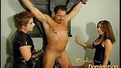 Naughty well-hung stallion gets dominated by two horny brune