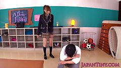 Petite jap beauty giving head and handjob