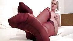 Bridget Blond Nylon Foot Tease