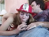 Young blonde in uniform takes hard pounding on the sofa