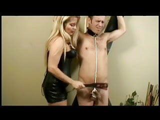 Dominatrix punish her slave
