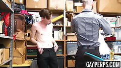 Security guard caught himself a cute twink perp to bareback