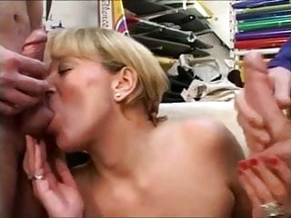 French mature woman fucks with two young cocks
