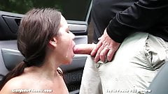 Husband takes wife dogging for stranger cock and cum