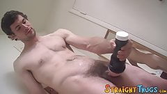 Hairy straight jock plays around with a pocket pussy solo
