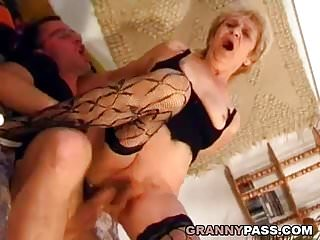 Preview 6 of Hairy Granny Gets Pounded Hard By A Young Dick