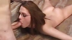 Girl with glasses tied and used
