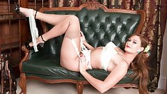 Posh babe strips to vintage nylons heels garters and wanks