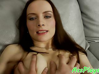 Smalltitted babe assfucked by her lover