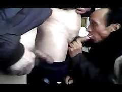 Chinese daddies in a bareback threesome