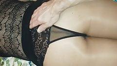 Pulling her panties off