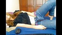Blonde teen bedroom strip