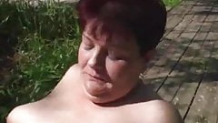 Redhead mature BBW fucked outdoors