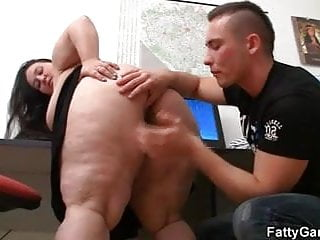 Fat office lady seduces hot guy