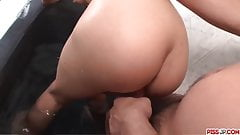 Rika Kurachi blows cock then fucks in serious manners
