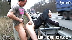 MeliDeluxe German girl fucks unrestrained on the highway
