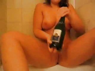 Cute Chubby Teen GF inserting wine bottle into her wet pussy