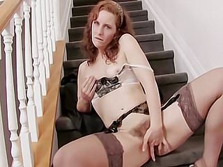 Sabrina Gets Off on The Stairs