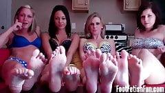 Four girls take you to foot fetish heaven