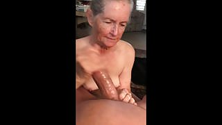 Grandma's handjob, cum compilation
