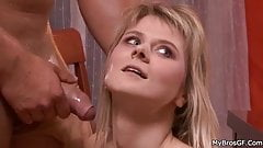 Cheating bitch takes new cock in both holes