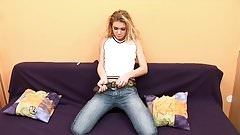 Gorgeous teen strips and plays solo in her room